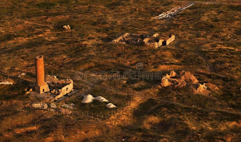 Vue aérienne sur les ruines de la ville antique de Van photo stock
