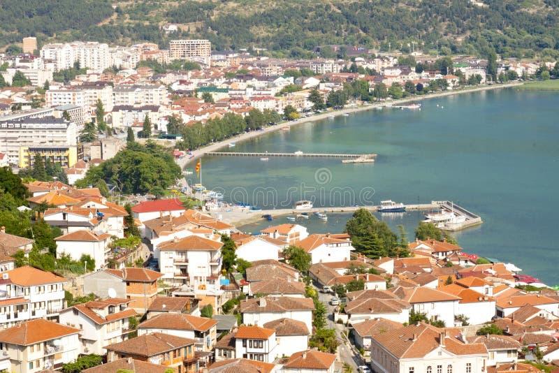 Vue aérienne sur Ohrid photos libres de droits