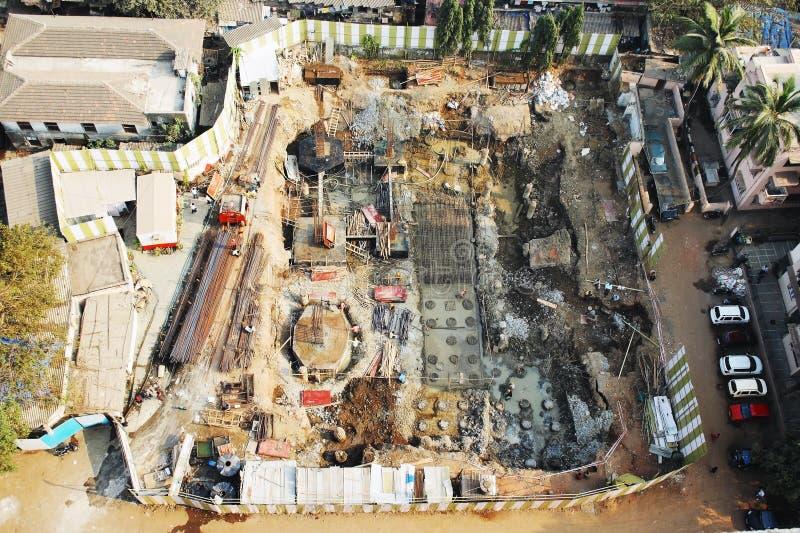 Vue aérienne sur un site de développement de bâtiment photographie stock