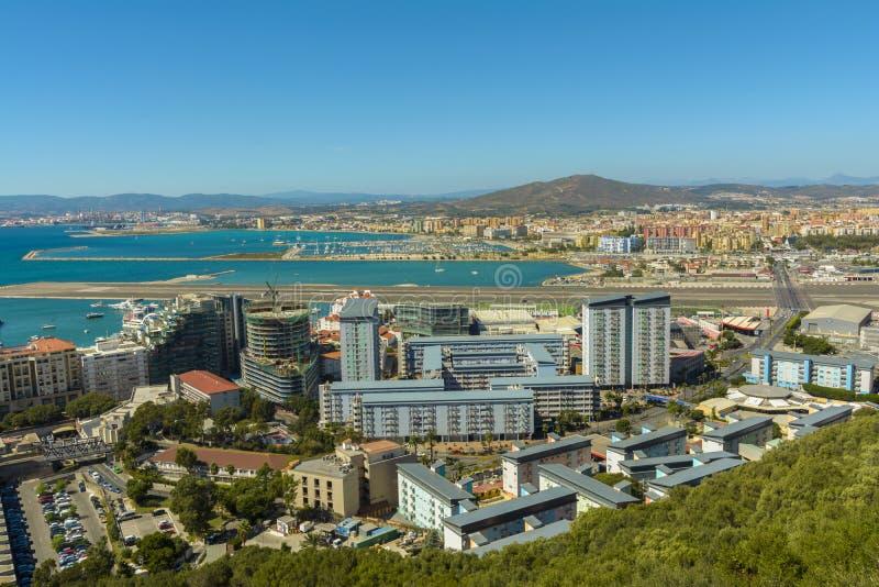 Vue aérienne territoire de Gibraltar, Royaume-Uni photographie stock