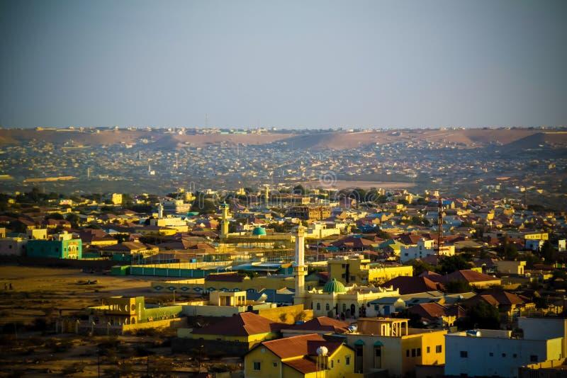 Vue aérienne vers Hargeisa, la plus grande ville de Somaliland, Somalie images libres de droits