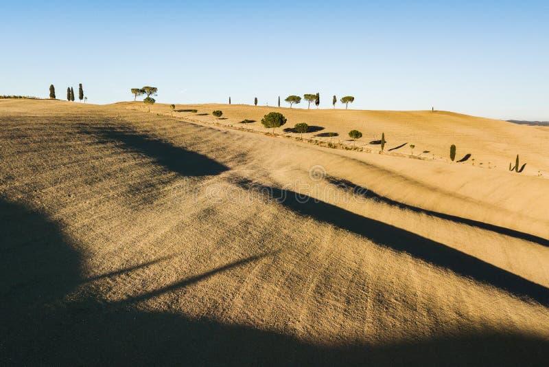 Vue abstraite de bourdon de colline toscane célèbre en Italie photographie stock libre de droits