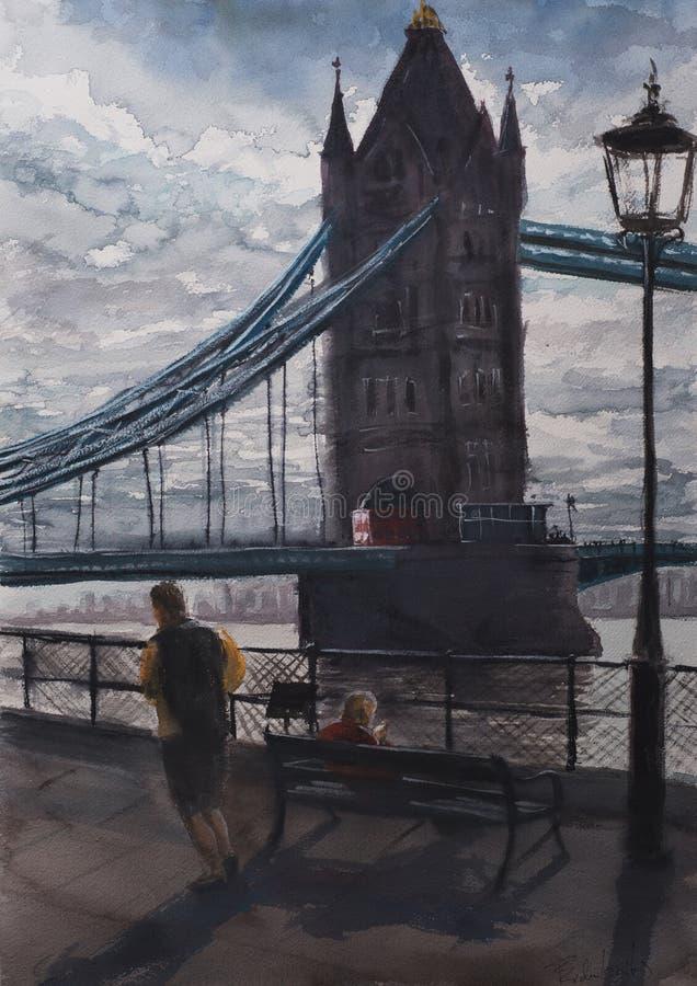 Vue abstraite de croquis d'aquarelle de pont de Londres illustration libre de droits