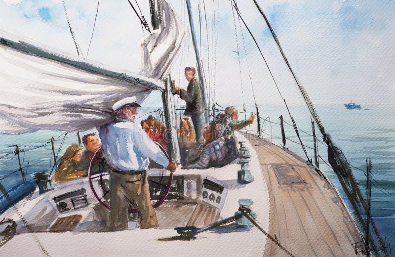 Vue abstraite de croquis d'aquarelle de yacht illustration stock