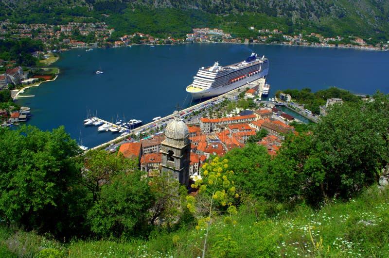 Vue adriatique pittoresque d'été, Kotor Monténégro photo libre de droits