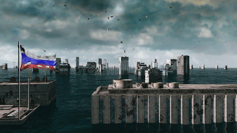Vue apocalyptique de l'eau inondation urbaine, drapeau russe storm 3d rendent photographie stock