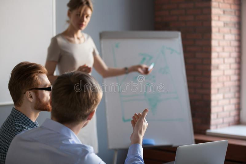 Vue arrière à l'homme d'affaires posant la question au haut-parleur à la formation photos libres de droits
