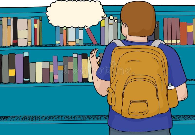 Vue arrière d'étudiant à la bibliothèque illustration de vecteur