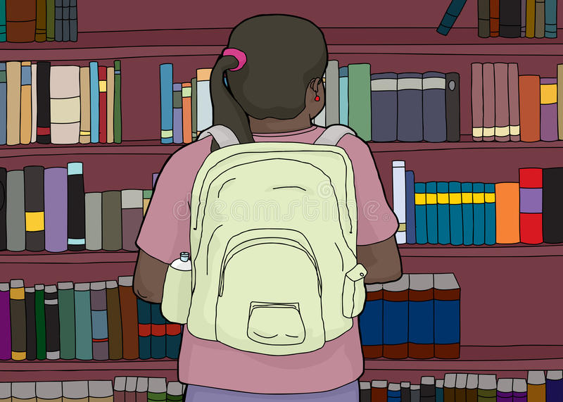 Vue arrière d'étudiant hispanique à l'étagère illustration stock