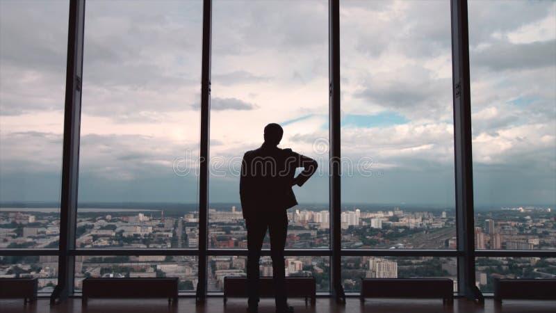 Vue arrière d'homme d'affaires dans un bureau avec la vue panoramique de ville L'homme d'affaires admire la ville de Windows pano photos stock