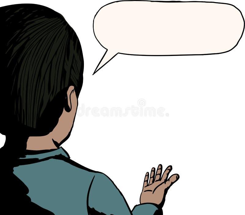 Vue arrière d'homme parlant illustration stock