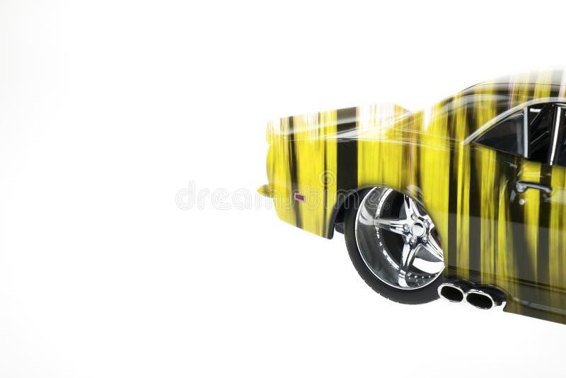 Vue arrière d'un double Exposured de voiture coulé sous pression par muscle avec Autumn Forest Image photo stock