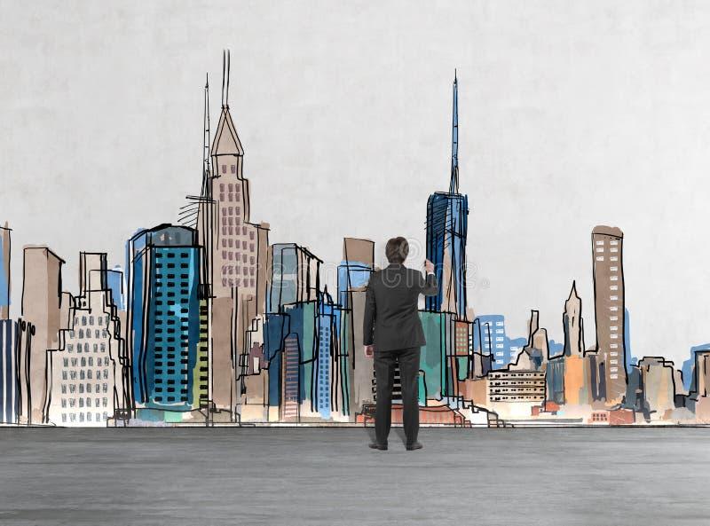 Vue arrière d'un homme d'affaires qui dessine la photo de New York sur le mur illustration libre de droits