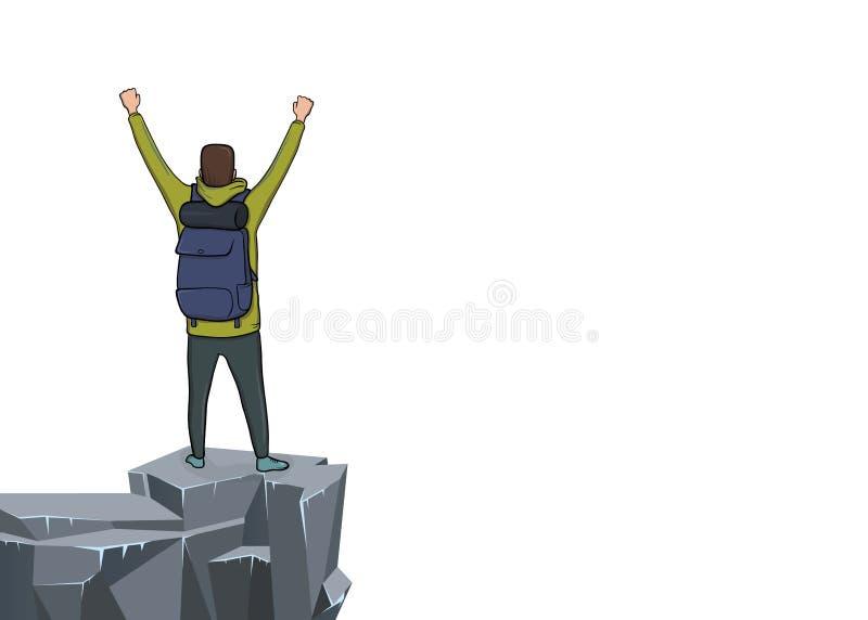 Vue arrière d'un jeune homme avec les mains augmentées au bord de la falaise Randonneur de montagne, explorateur, alpiniste Un sy illustration libre de droits