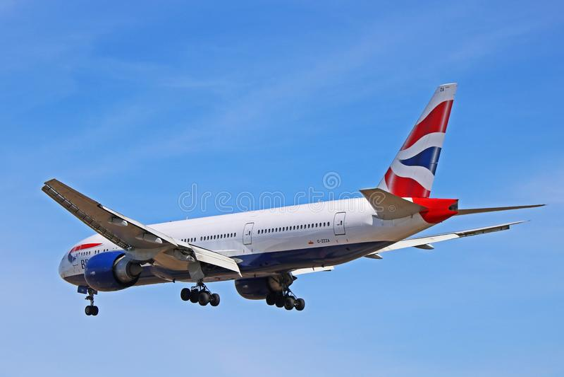Vue arri?re de British Airways Boeing 777-200 images stock