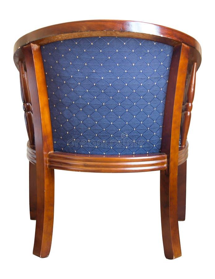 Vue arrière de chaise en bois de couleur bleue image libre de droits