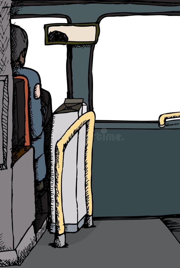 Vue arrière de chauffeur de bus illustration libre de droits