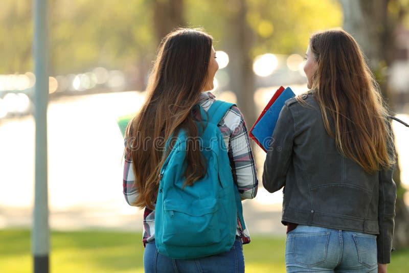 Vue arrière de deux étudiants marchant et parlant images stock