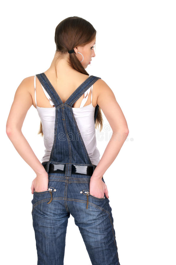 Vue arrière de femme en denim photo libre de droits