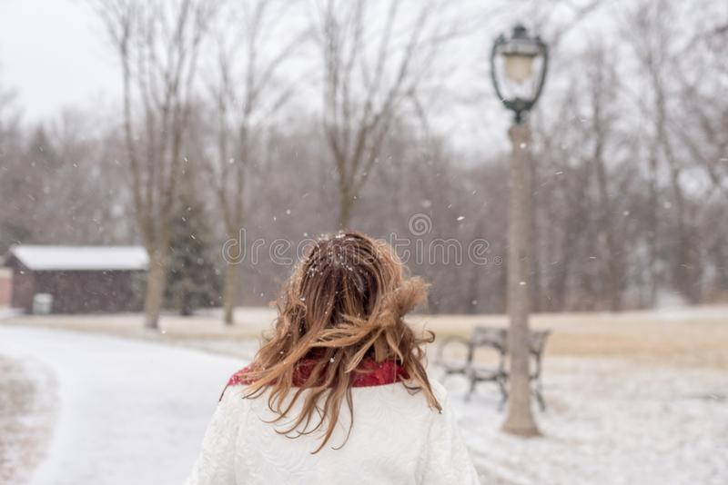 Vue arrière de femme marchant en parc de ville avec les flocons de neige magiques images libres de droits