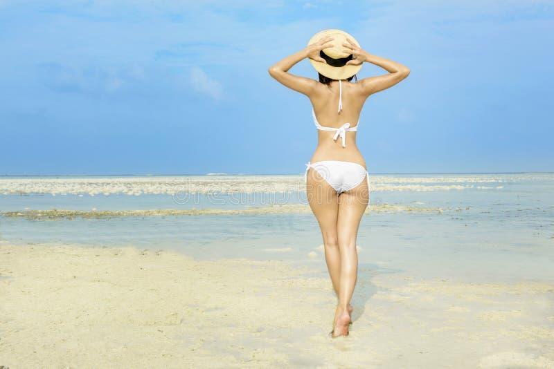 Vue arrière de fille sexy asiatique avec le chapeau et le bikini sur la plage image libre de droits