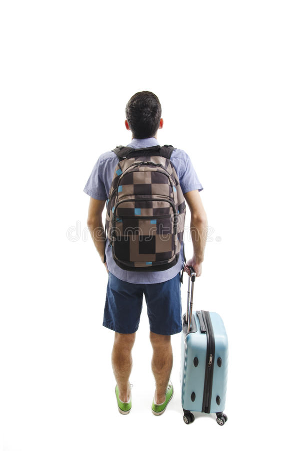 Vue arrière de l'homme avec le sac à dos et la valise recherchant Collection de personnes de vue arrière vue de postérieur de per photo stock
