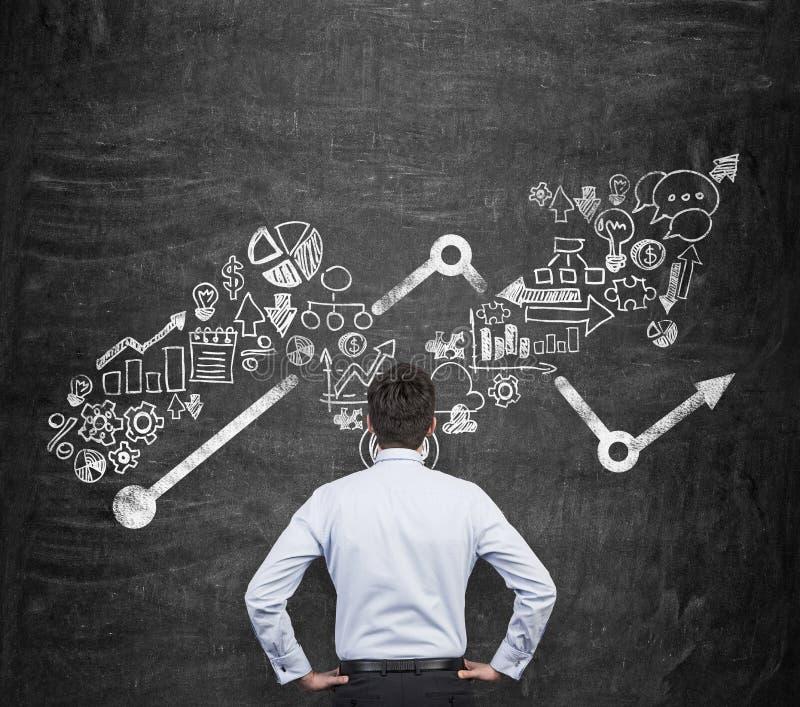 Vue arrière de l'homme d'affaires qui pense aux opportunités commerciales Icônes croissantes de flèche et d'affaires en tant que  image stock