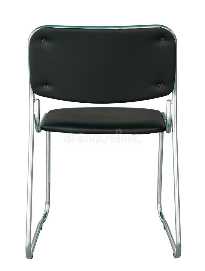 Vue arrière de la chaise moderne noire d'isolement sur le blanc image stock