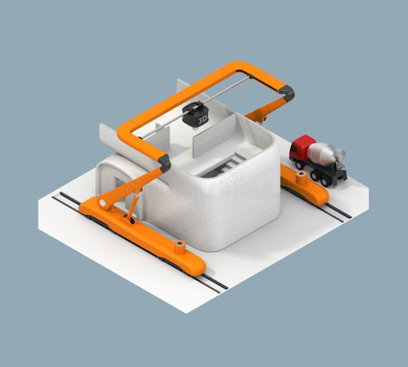 Vue arrière de modèle industriel de maison d'impression de l'imprimante 3D illustration stock