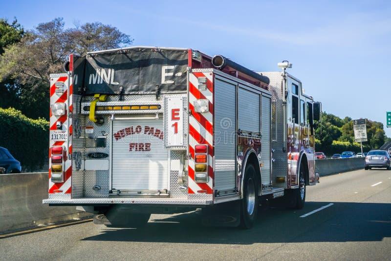 Vue arrière de pompe à incendie image libre de droits