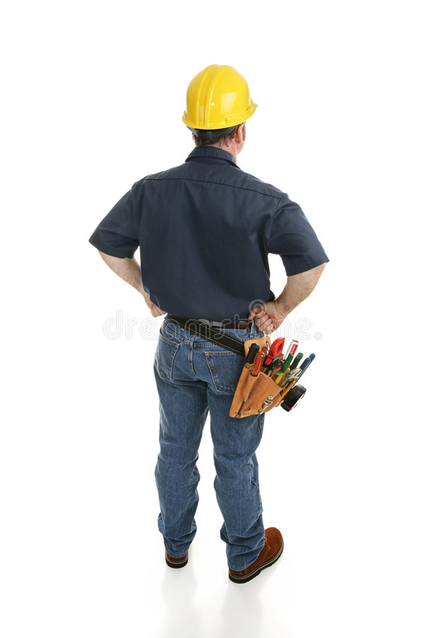 Vue arrière de travailleur de la construction photo stock