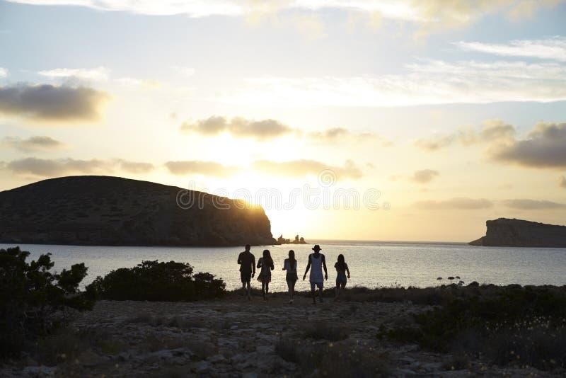 Vue arrière des amis se tenant sur Cliff Watching Sunset photo libre de droits