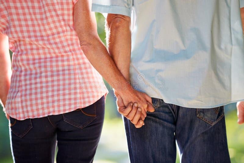 Vue arrière des couples âgés par milieu marchant le long de la ruelle de pays photos libres de droits
