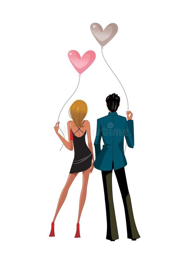 Vue arrière des couples illustration stock