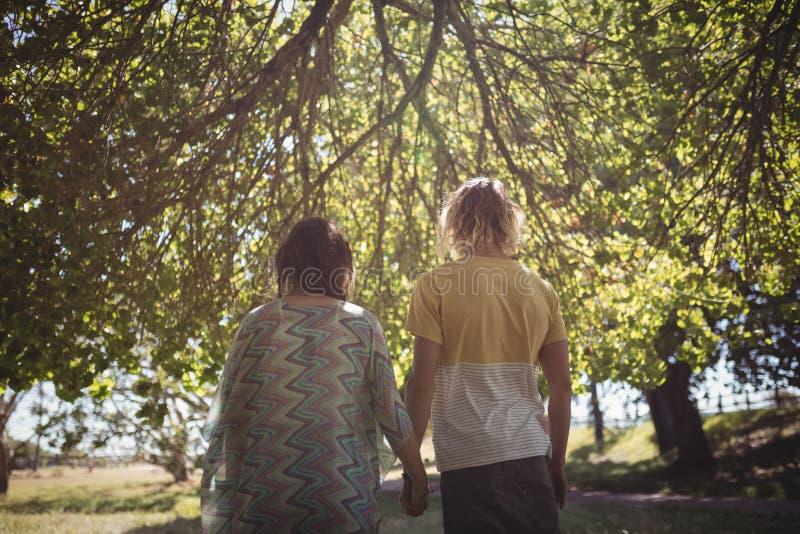 Vue arrière des couples tenant des mains tout en se tenant sur le champ photographie stock libre de droits