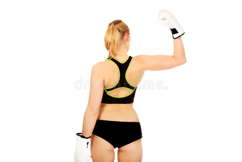 Vue arrière des gants de boxe blancs de port de femme de forme physique de boxe photos libres de droits