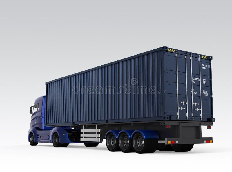 Vue arrière du camion bleu de récipient d'isolement sur le fond gris illustration stock