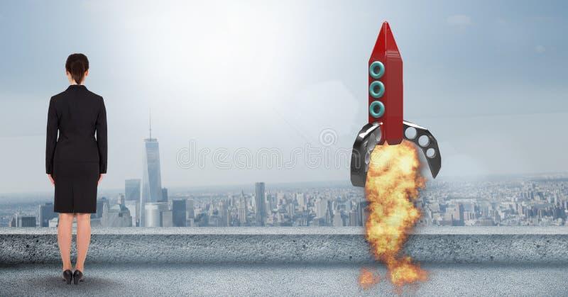 Vue arrière du lancement se tenant prêt de fusée de femme d'affaires sur la terrasse contre la ville image libre de droits