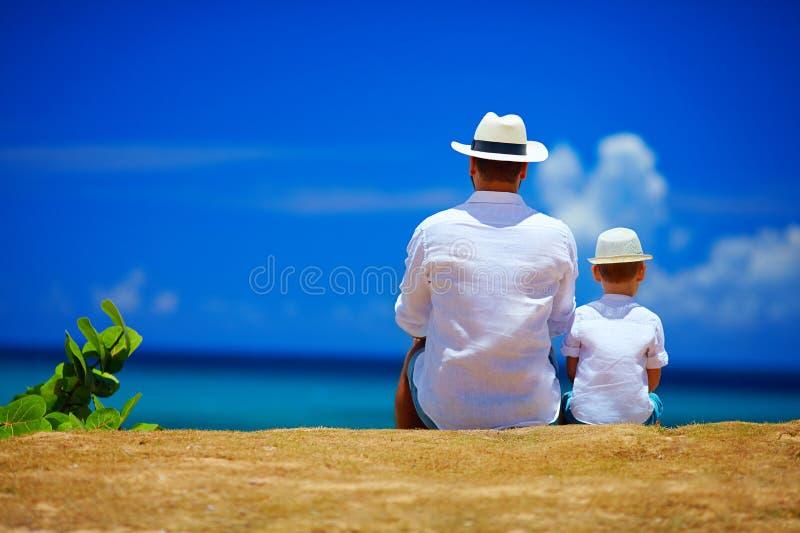 Vue arrière du père et du fils s'asseyant ensemble sur l'horizon de ciel image libre de droits