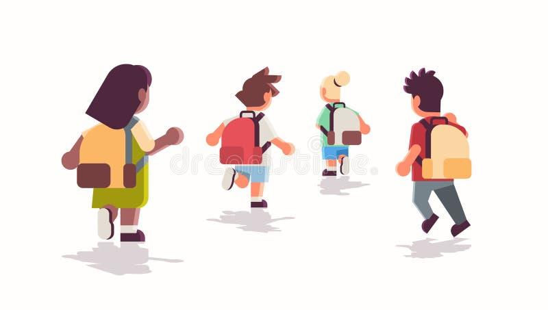 Vue arrière groupe d'enfants d'école avec sacs à dos qui retournent à l'école concept d'éducation mélange race mâle filles plat illustration de vecteur