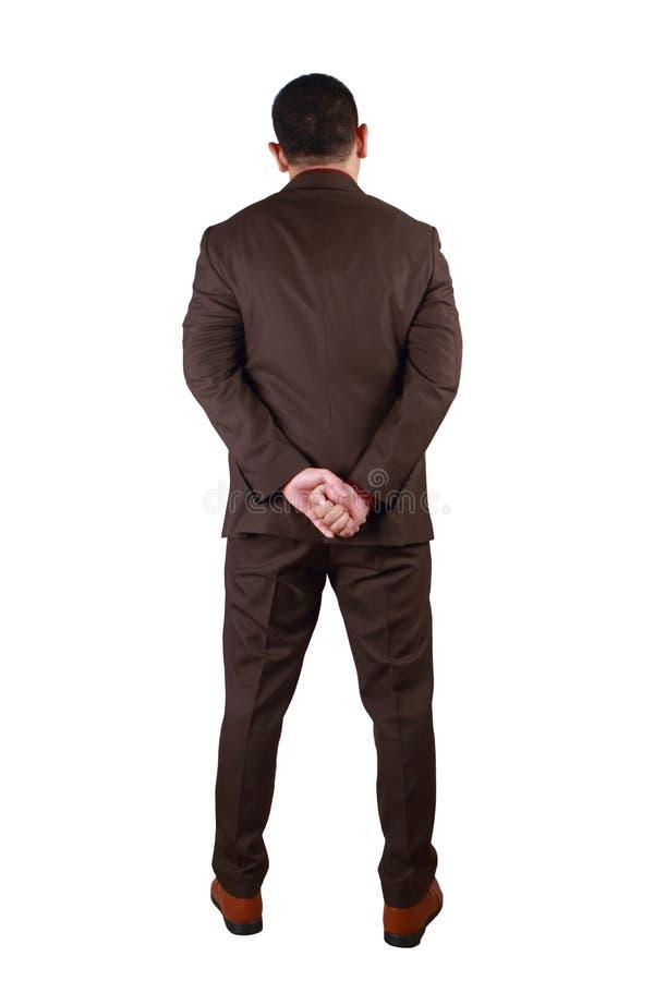 Vue arri?re d'homme d'affaires Plein portrait de corps d'isolement sur le blanc photo stock