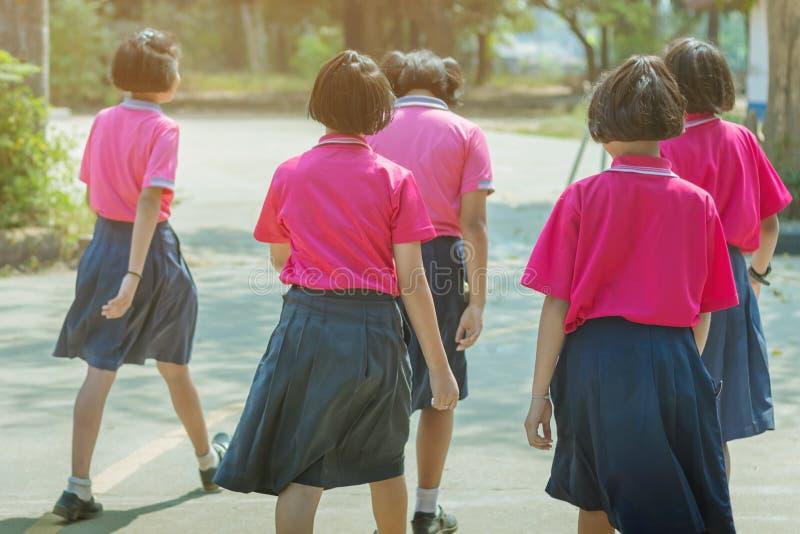 Vue arri?re des ?tudiantes primaires de bonheur dans la chemise rose et la promenade bleue de jupe aux salles de classe photos stock