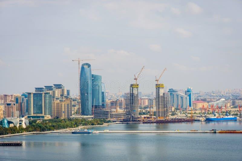 Vue au-dessus de Bakou, Azerbaïdjan photographie stock libre de droits