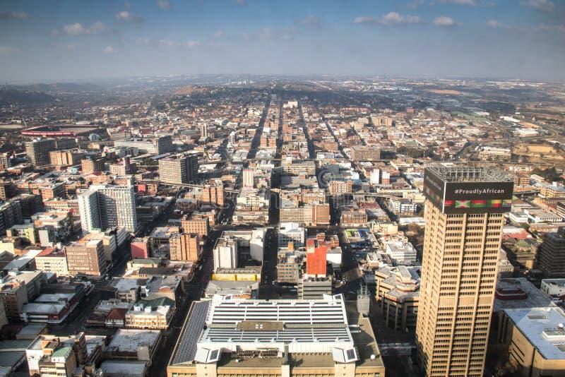 Vue au-dessus de Johannesburg du centre en Afrique du Sud photographie stock libre de droits