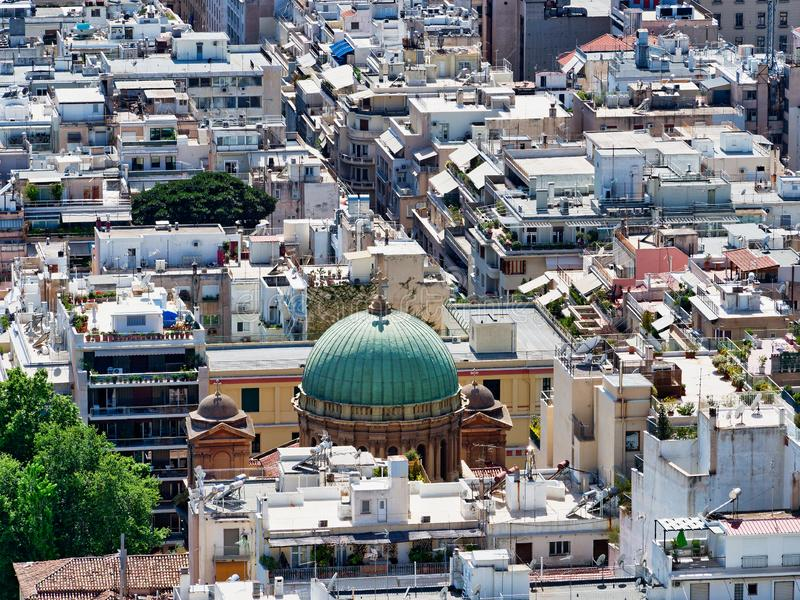 Vue au-dessus de Kolonaki avec Agios Dionysios Areopagitis Church, Athènes, Grèce photo stock