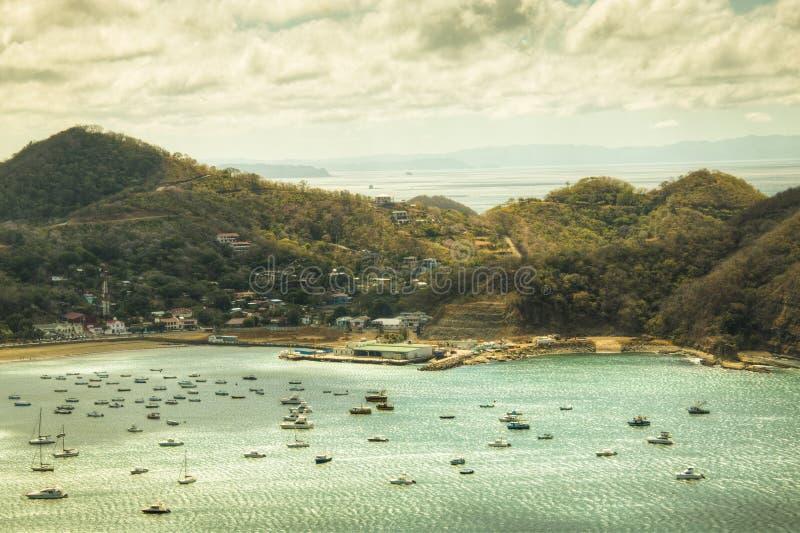 Vue au-dessus de la baie de San Juan del Sur, Nicaragua photographie stock