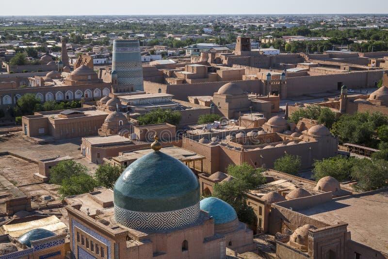 Vue au-dessus de la ville de Khiva dans l'Ouzbékistan images libres de droits