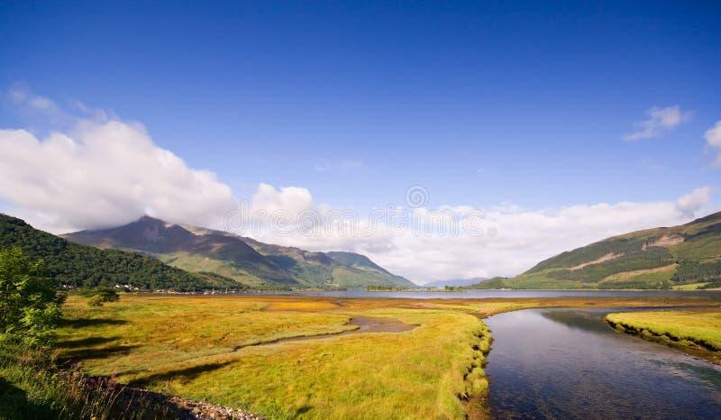 Vue au-dessus de loch Leven, gorge Coe image libre de droits