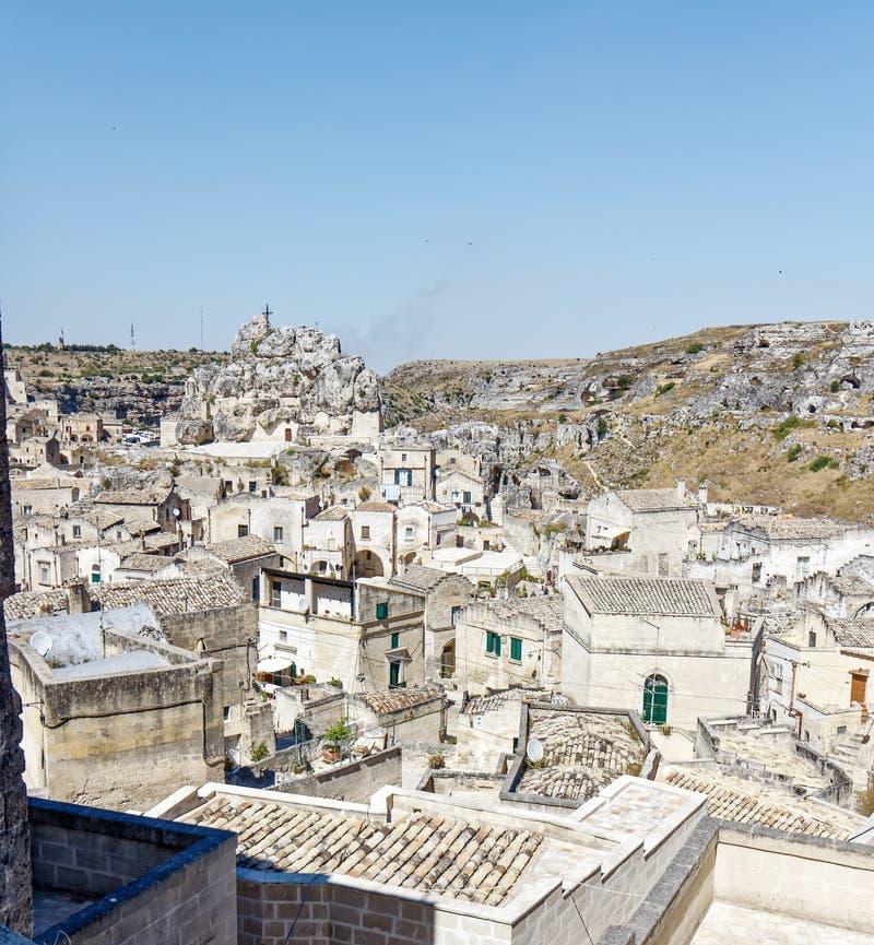 Vue au-dessus de Matera, un site de l'UNESCO en Basilicata photographie stock