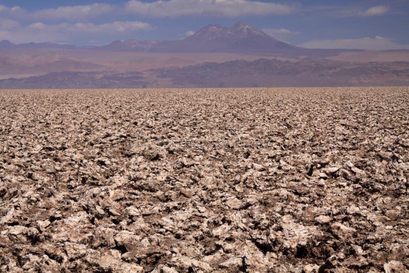 Vue au-dessus de plateau stérile blanc et brun lumineux sans fin de sel dans l'horizon brouillé différant du ciel bleu profond photographie stock